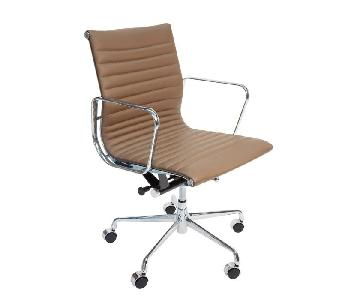 Tan Leather w/ Silver Hardware Office/Desk Chair