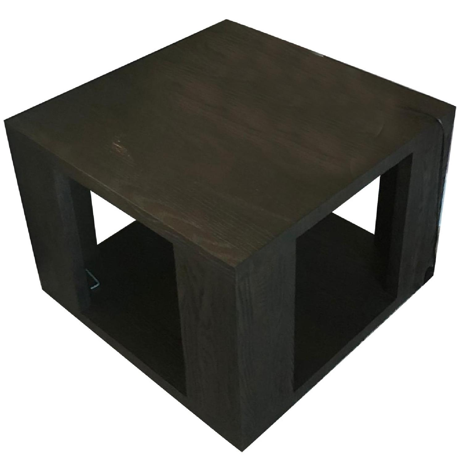 Wood Side Table w/ Center Storage