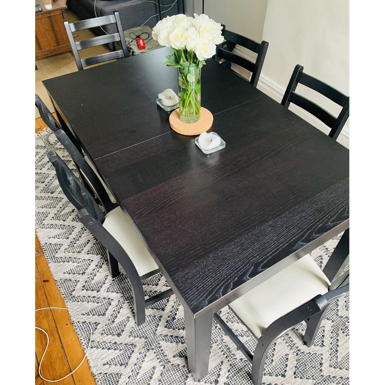 Ikea Bjursta Extendable Table W 6 Lerhamn Black Chairs