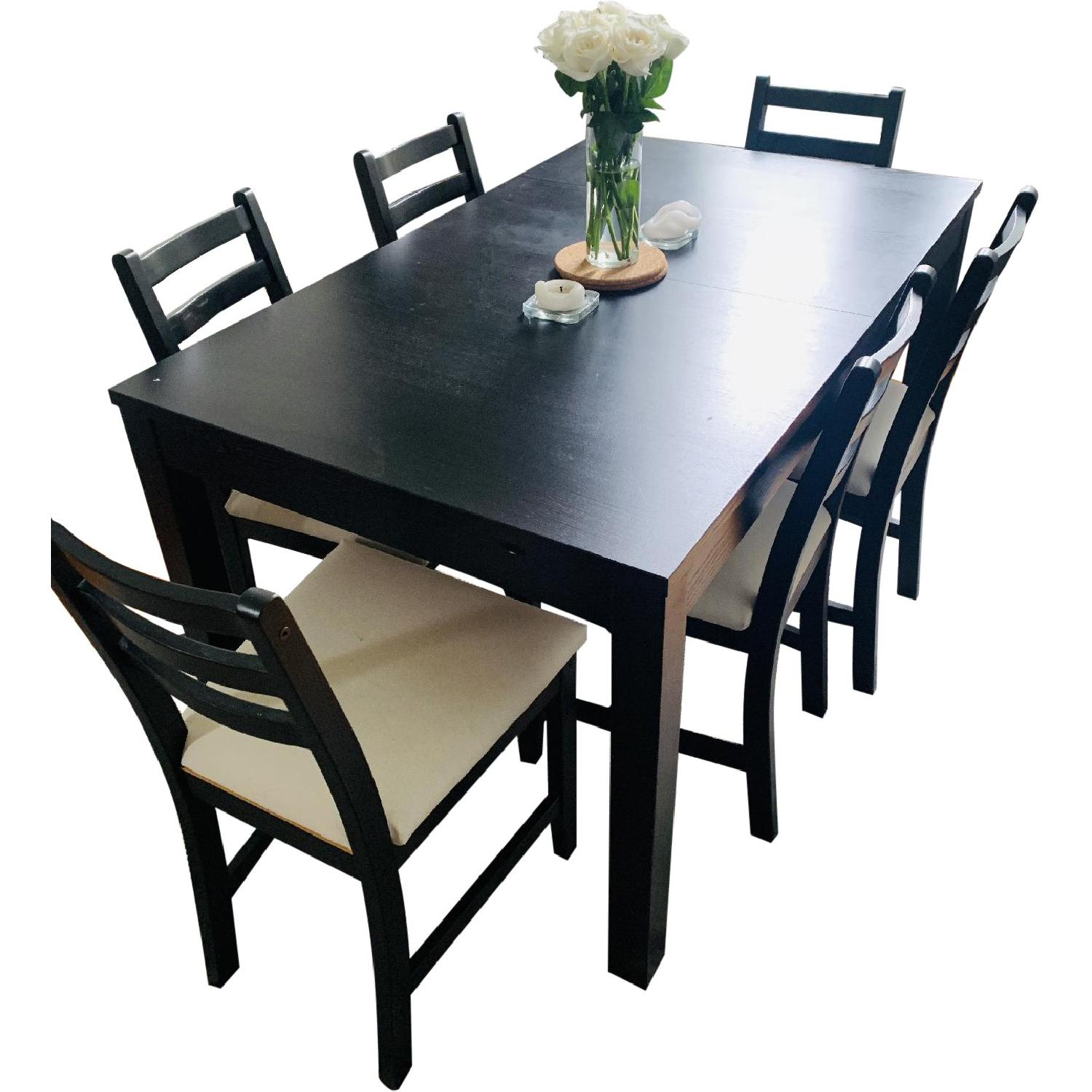 Ikea Bjursta Extendable Table w/ 6 Lerhamn Black Chairs