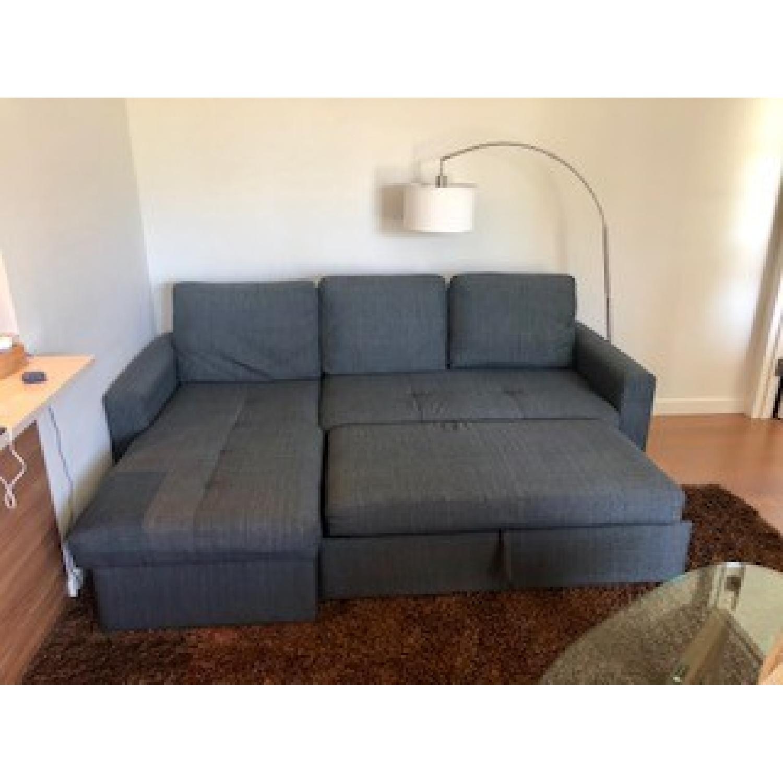 Poundex Grey Convertible Sectional Sofa - AptDeco