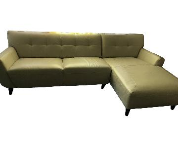 Cream Leather 2-Piece Sectional Sofa