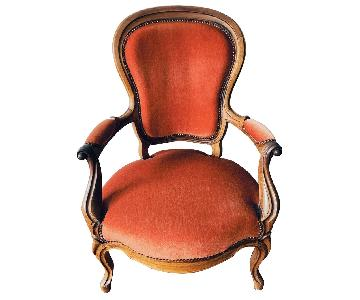Vintage 19th-Century French Red Voltaire Armchair