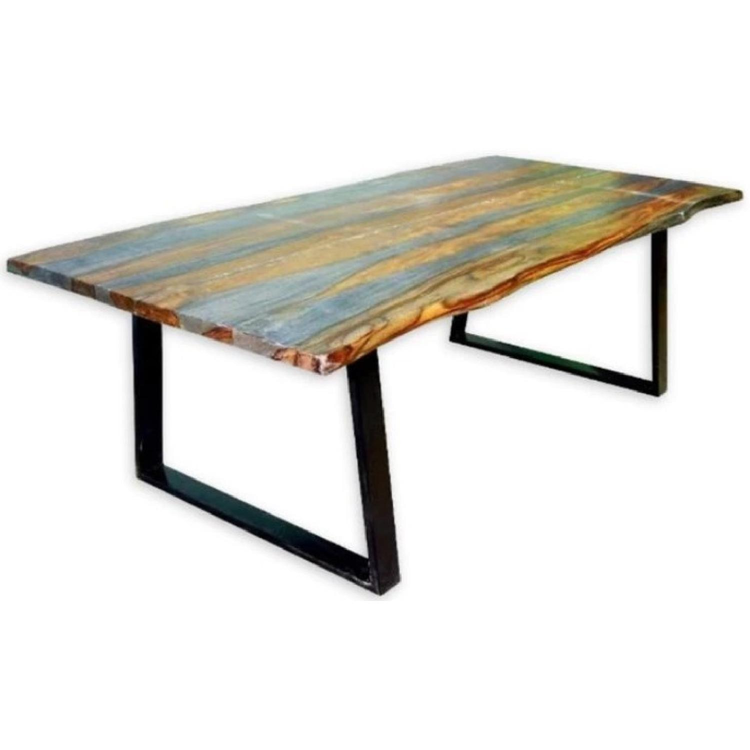 Modern Dining Table w/ Solid Wood Live Edge Top & Metal Legs
