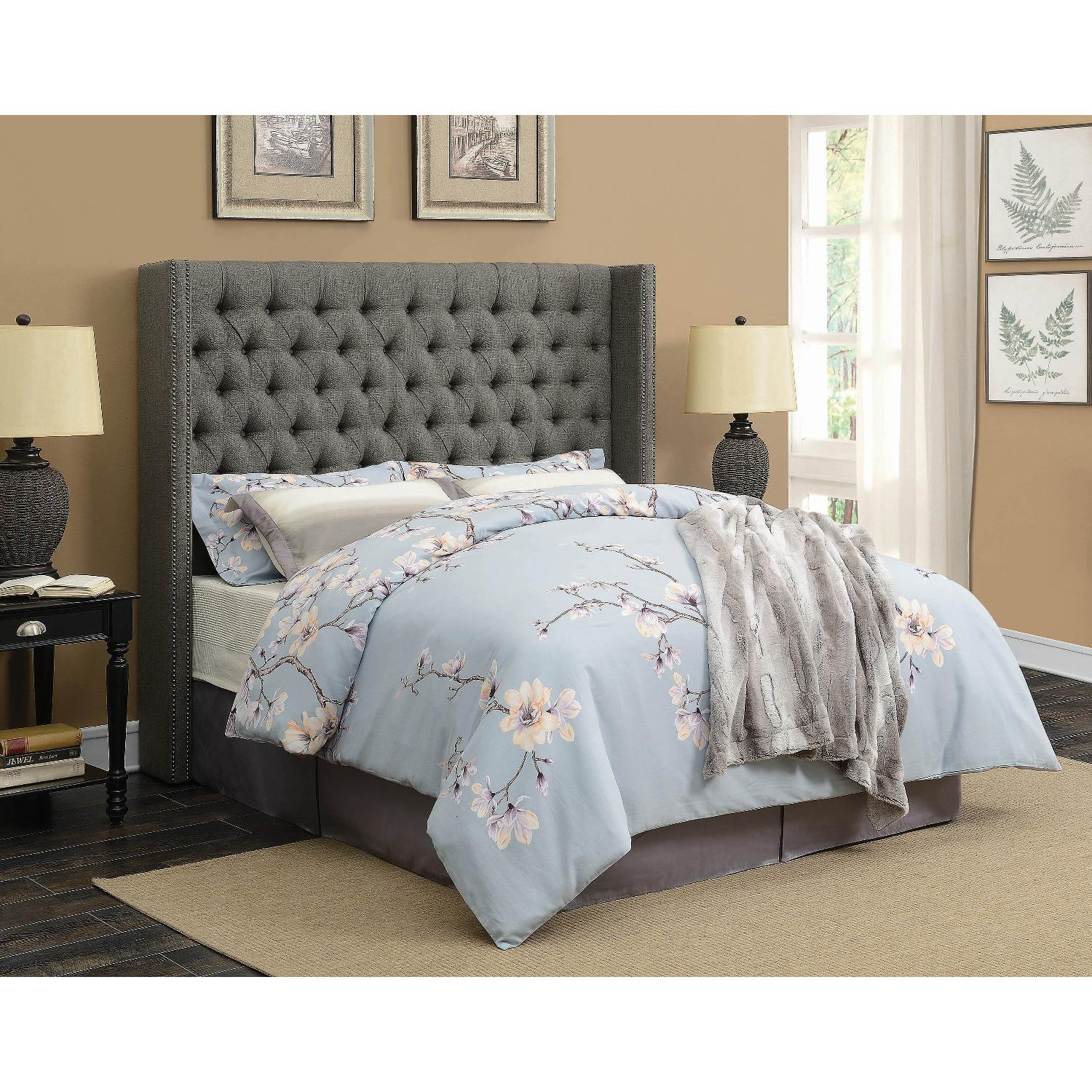 Modern Demi Wing Queen Bed in Grey w/ Nailhead Accent - image-2