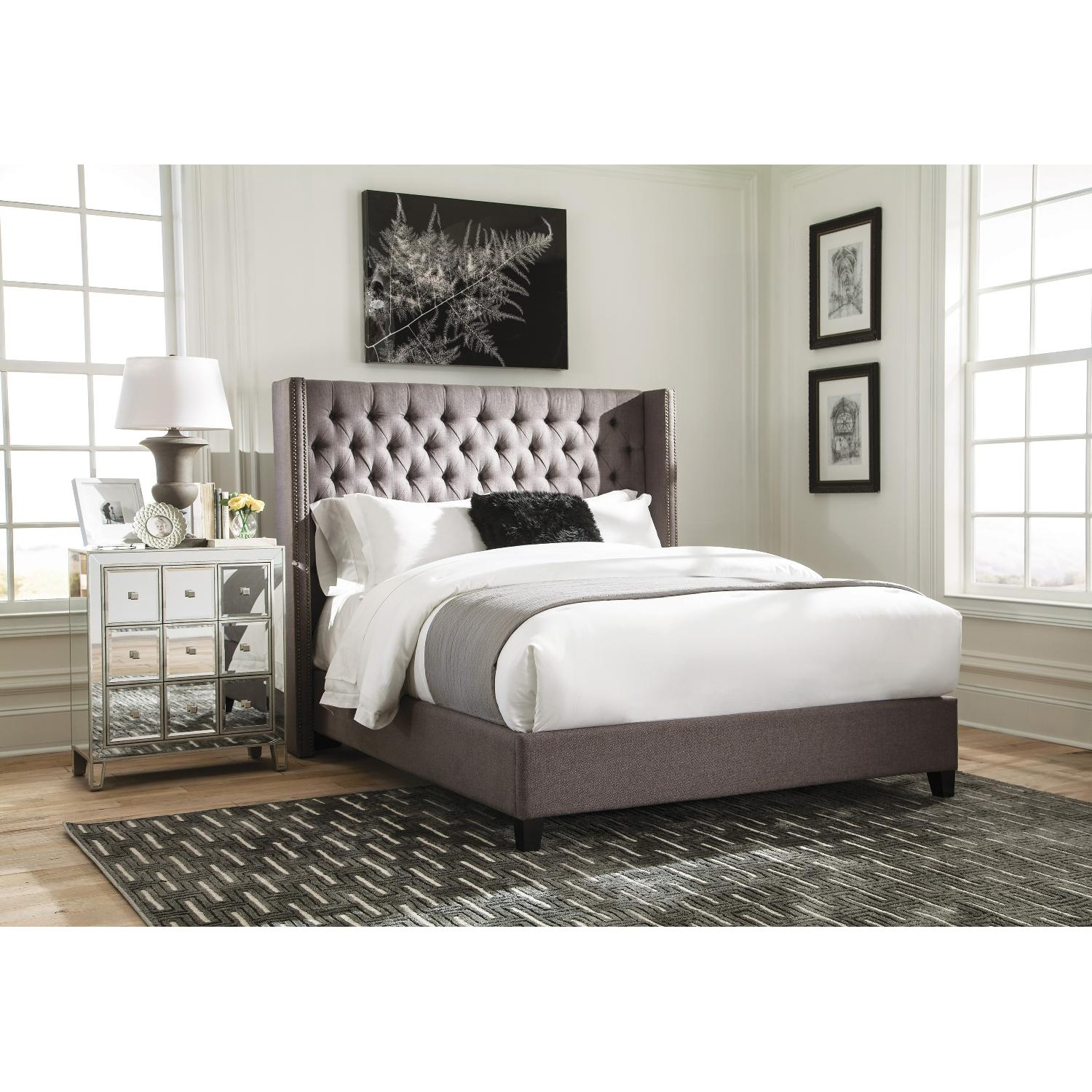 Modern Demi Wing Queen Bed in Grey w/ Nailhead Accent - image-4