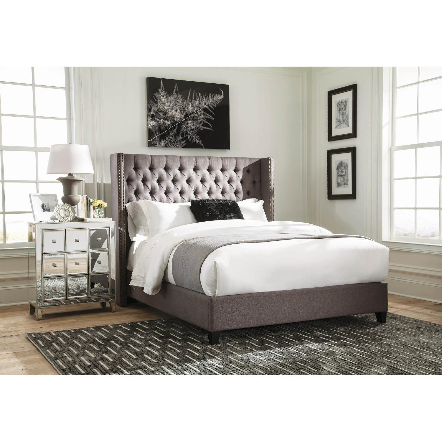 Modern Demi Wing Queen Bed in Grey w/ Nailhead Accent - image-10