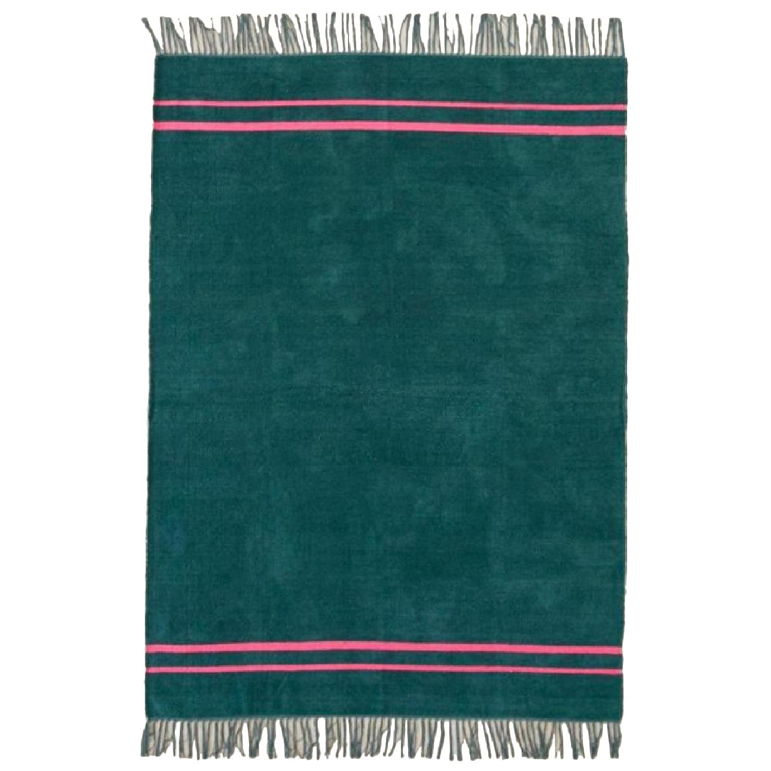 Urban Outfitters Luna Green Chenille Stripe Rug - image-0