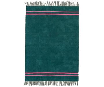 Urban Outfitters Luna Green Chenille Stripe Rug