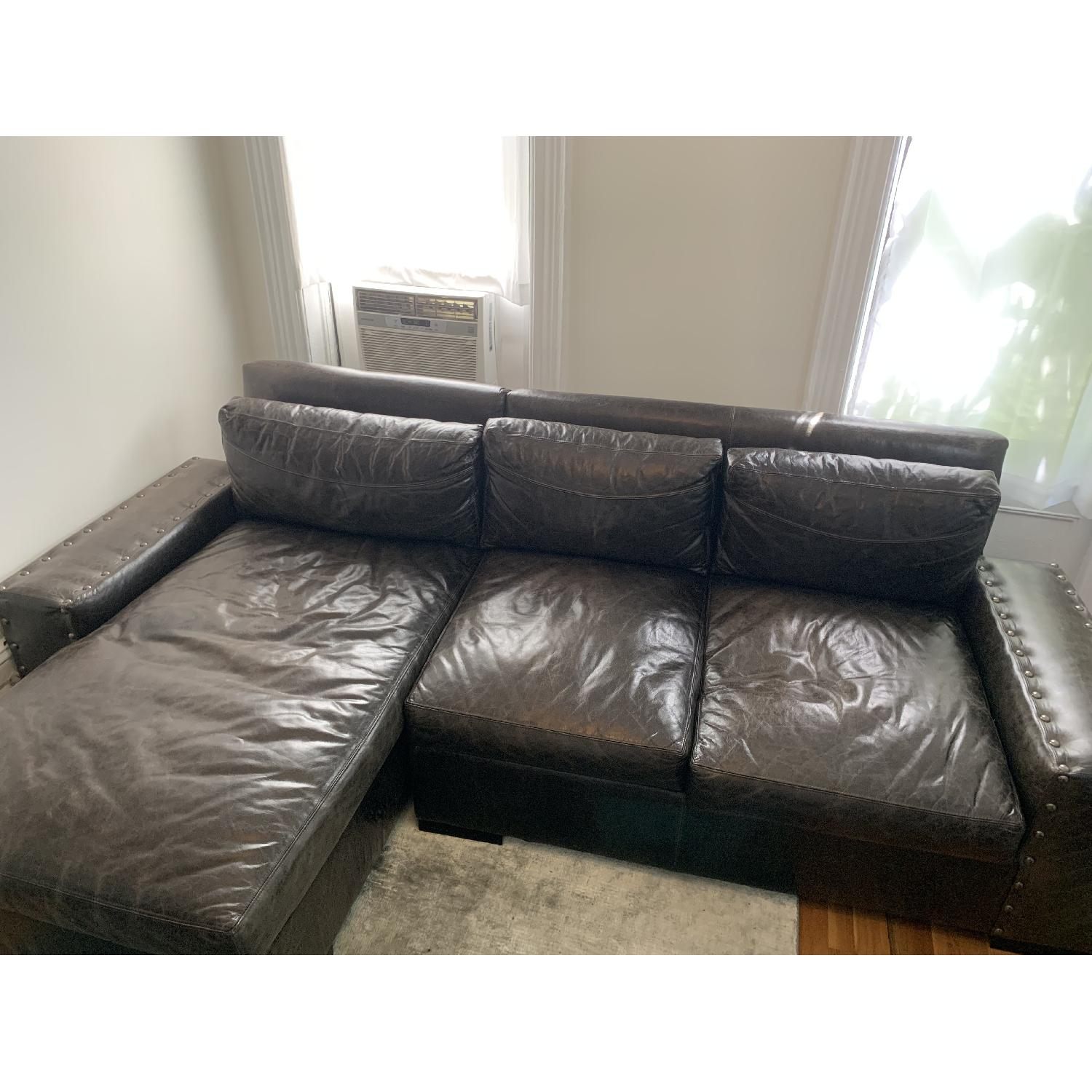 Black Leather Sectional Sofa - image-1