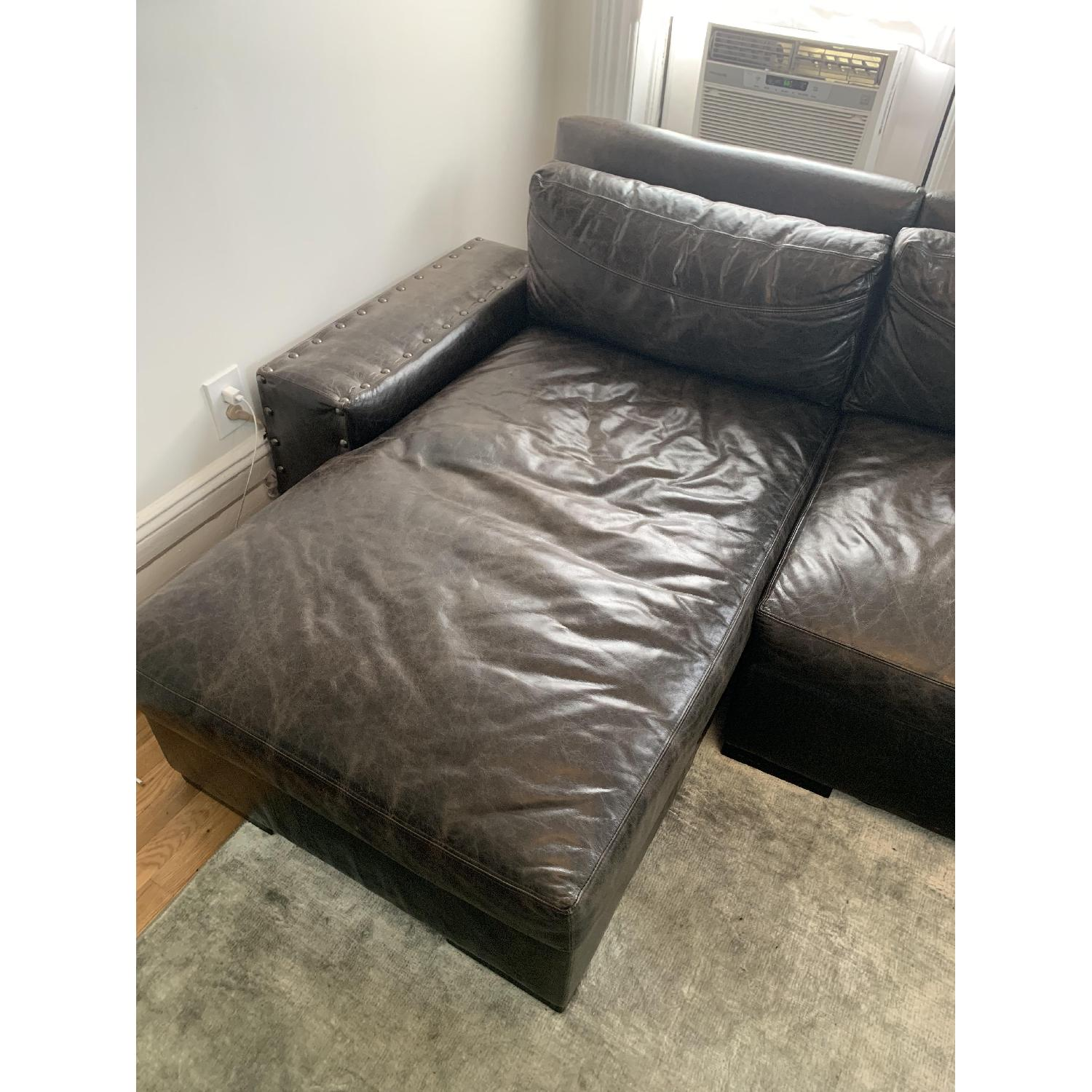 Black Leather Sectional Sofa - image-2