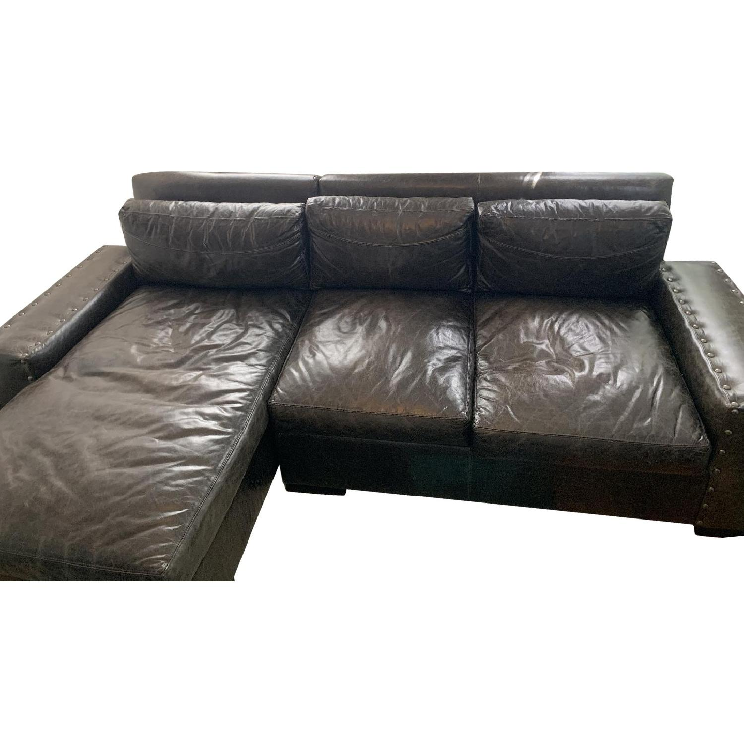 Black Leather Sectional Sofa - image-0