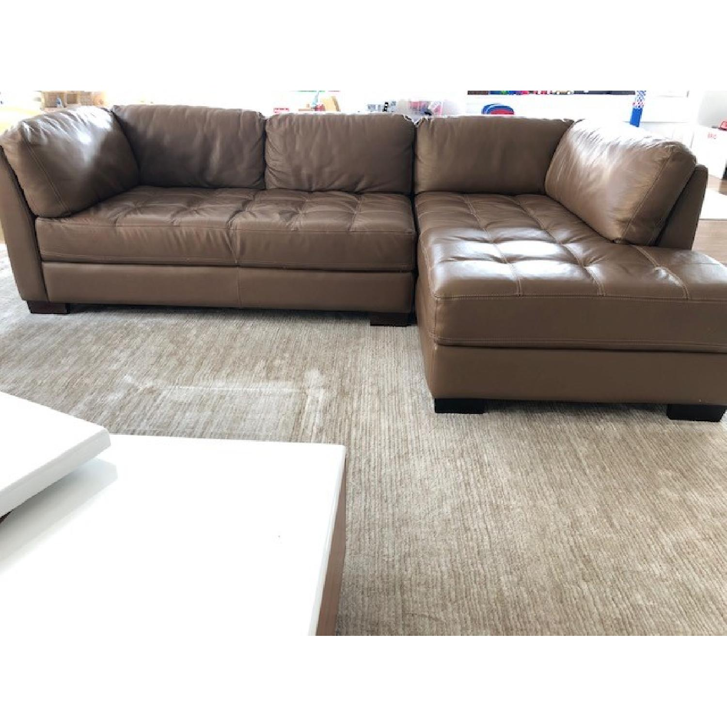 Bloomingdale\'s Brown Leather 2-Piece Sectional Sofa - AptDeco
