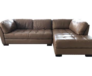 Bloomingdale's Brown Leather 2-Piece Sectional Sofa