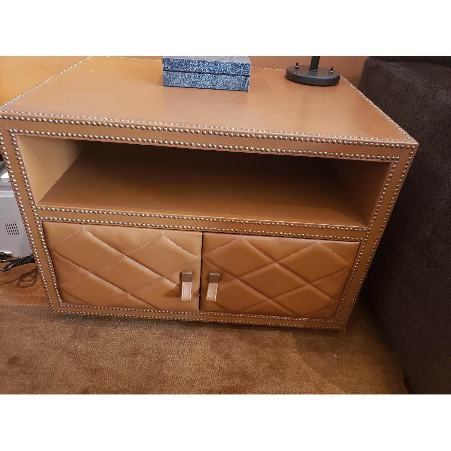 Leather Wrapped Side Table w/ Silver Nail Head Trim - image-1
