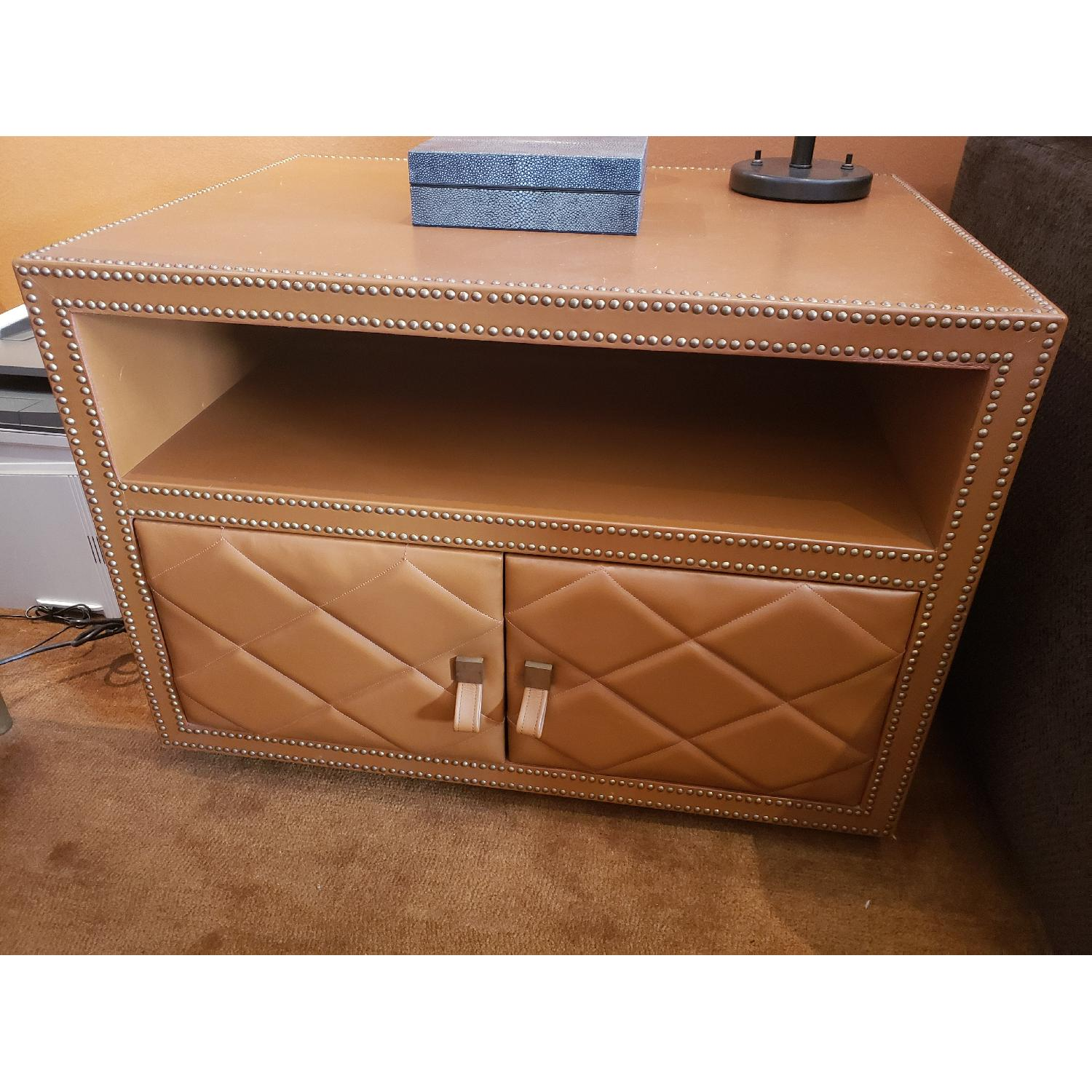 Leather Wrapped Side Table w/ Silver Nail Head Trim - image-3
