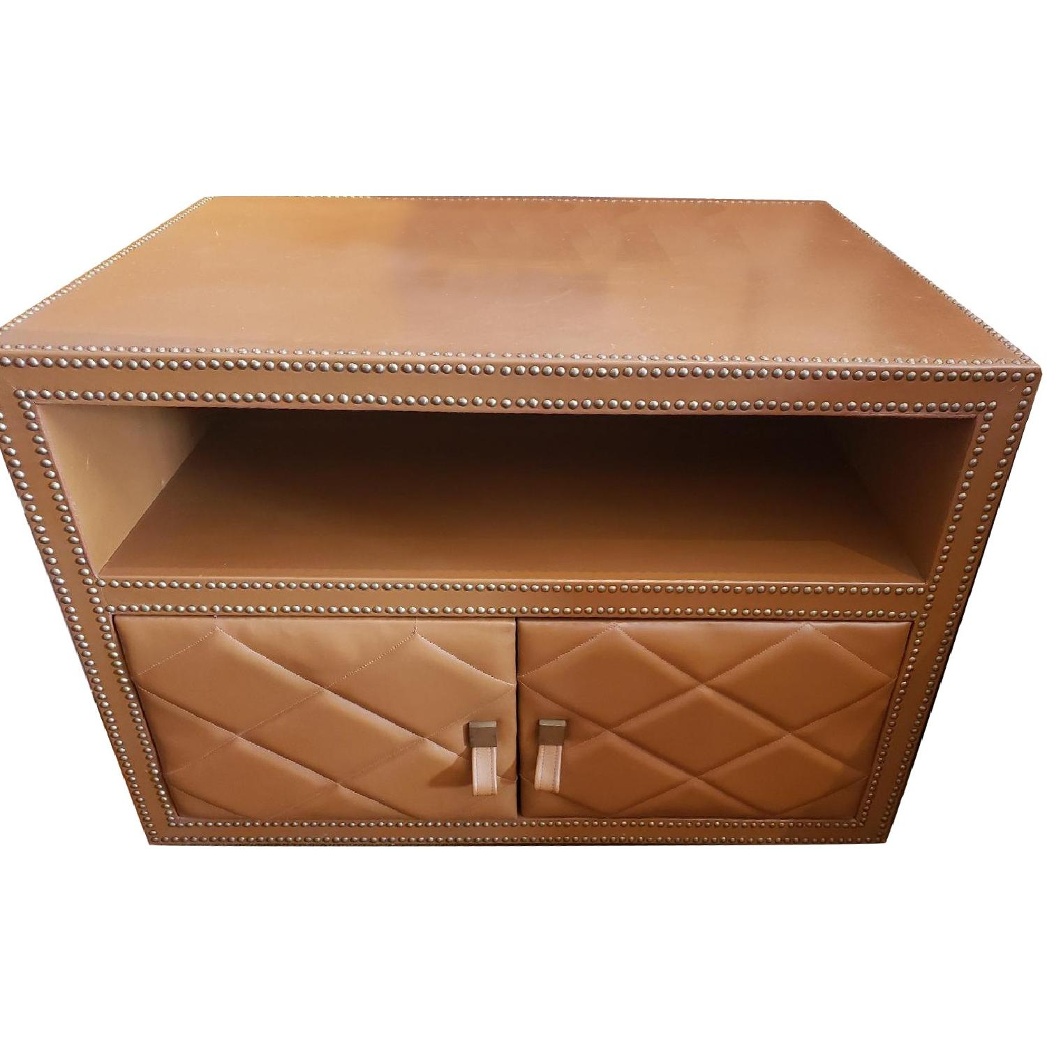 Leather Wrapped Side Table w/ Silver Nail Head Trim - image-0