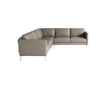 Chateau D'ax Italian Leather Sectional Sofa