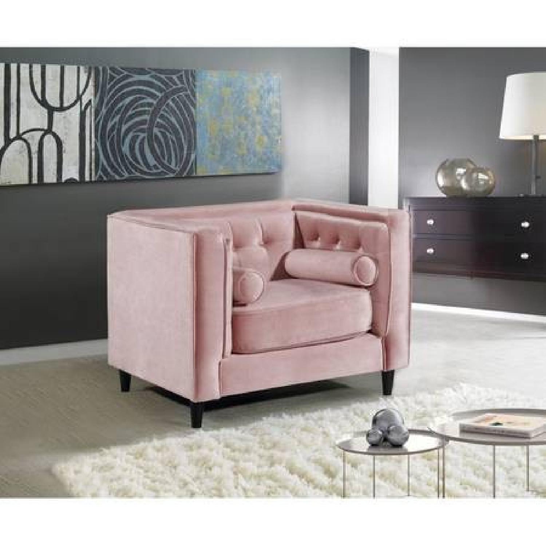 Willa Arlo Roberta Pink Velvet Armchair - image-1