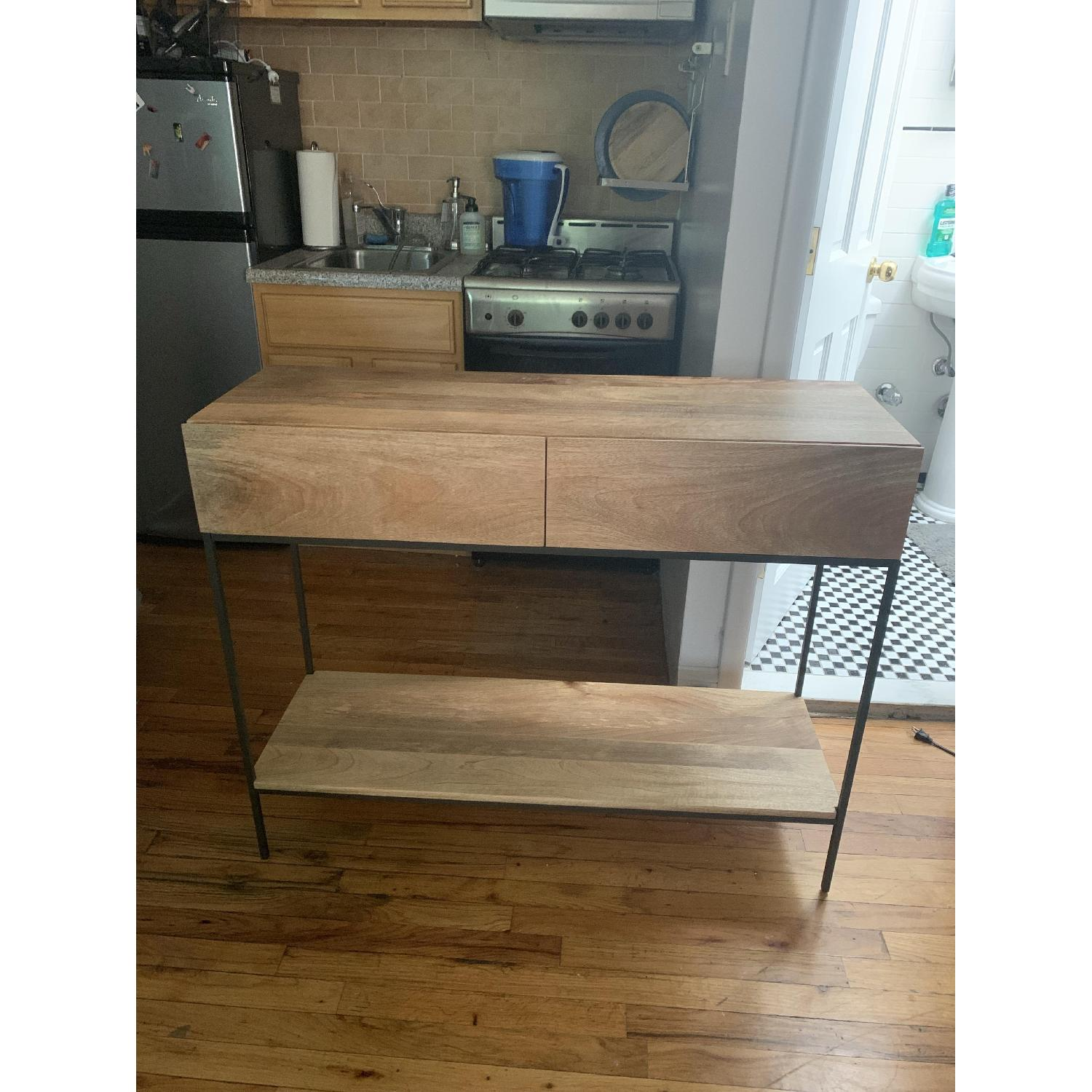 West Elm Modern Console Table in Natural Finish w/ Drawers - image-1