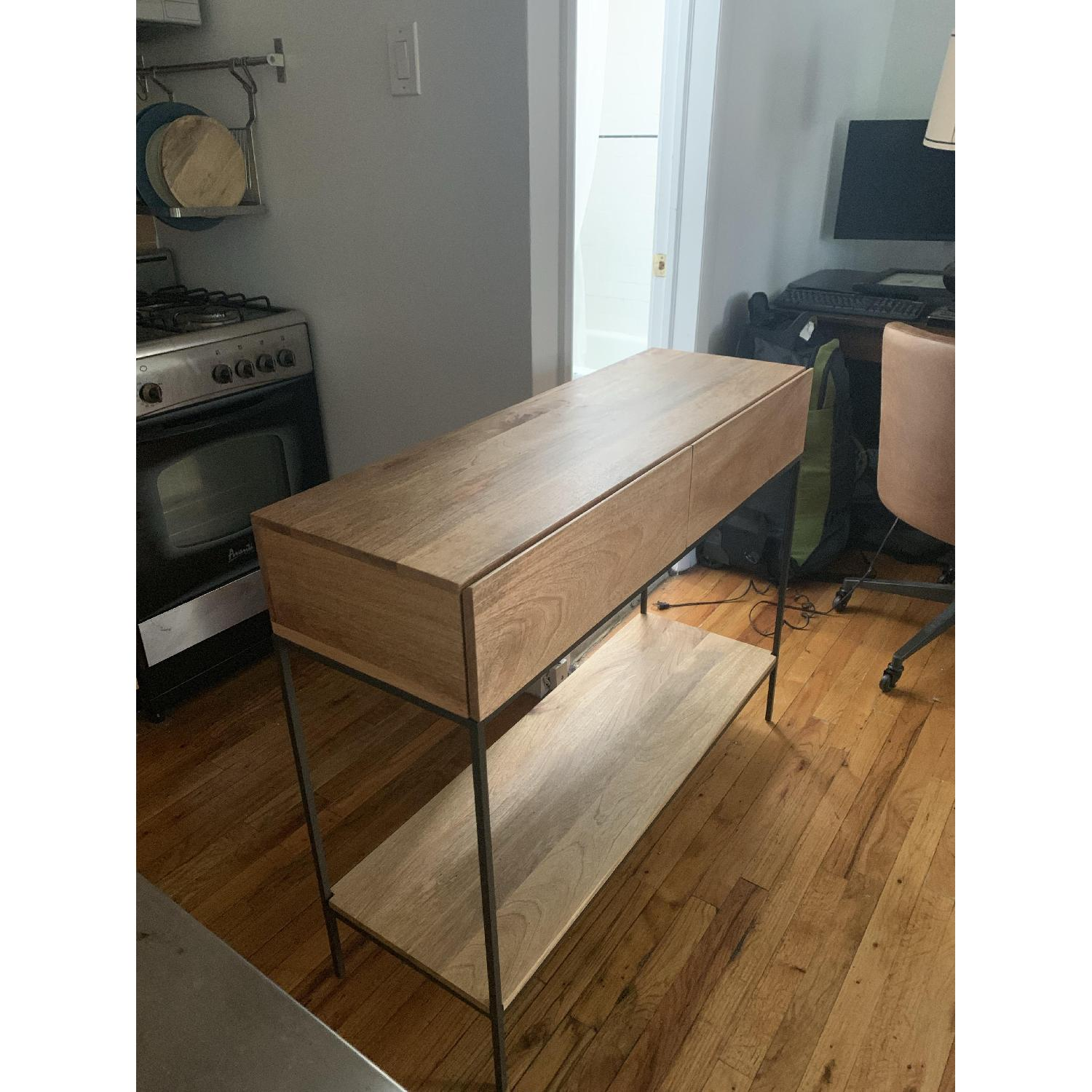 West Elm Modern Console Table in Natural Finish w/ Drawers - image-2