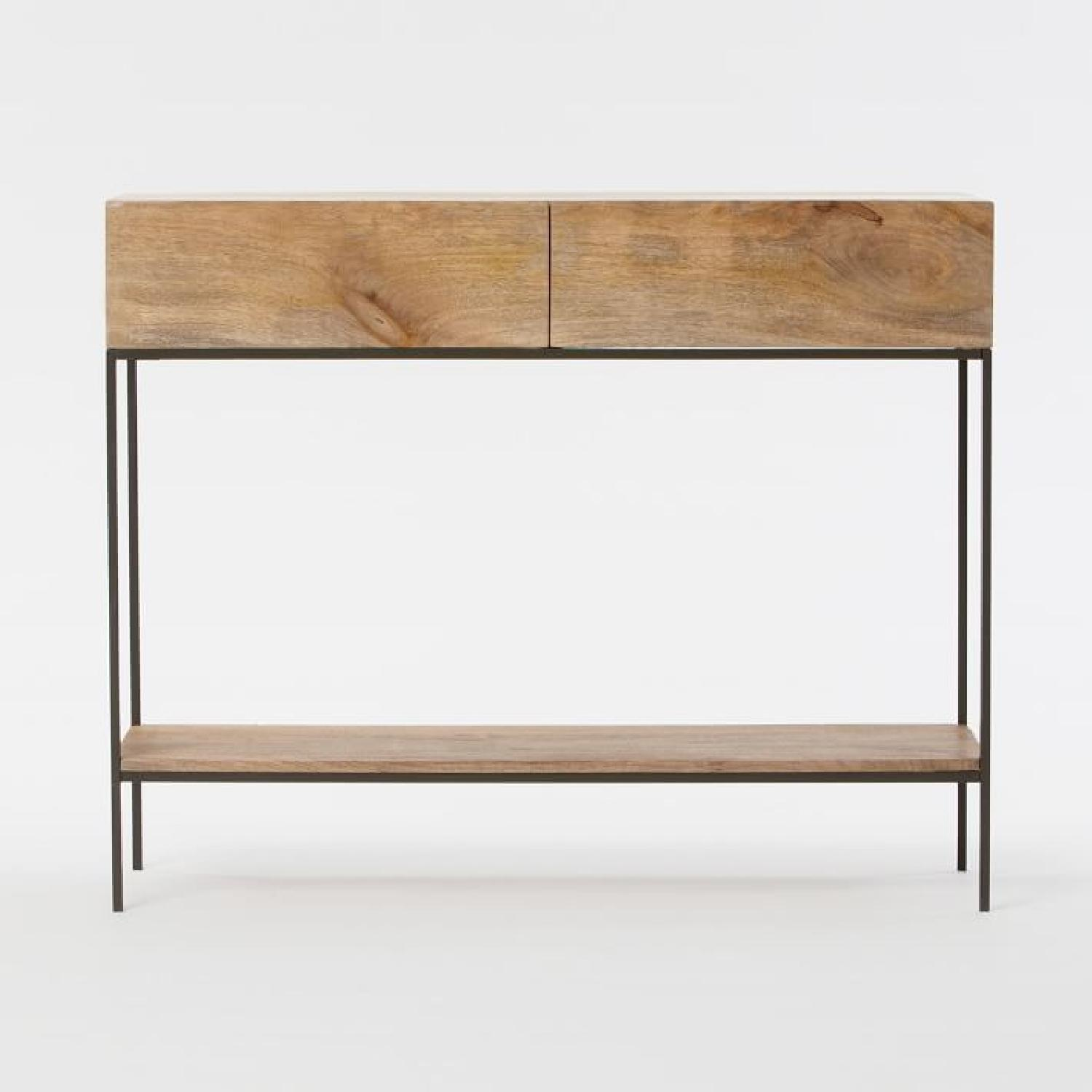 West Elm Modern Console Table in Natural Finish w/ Drawers - image-4