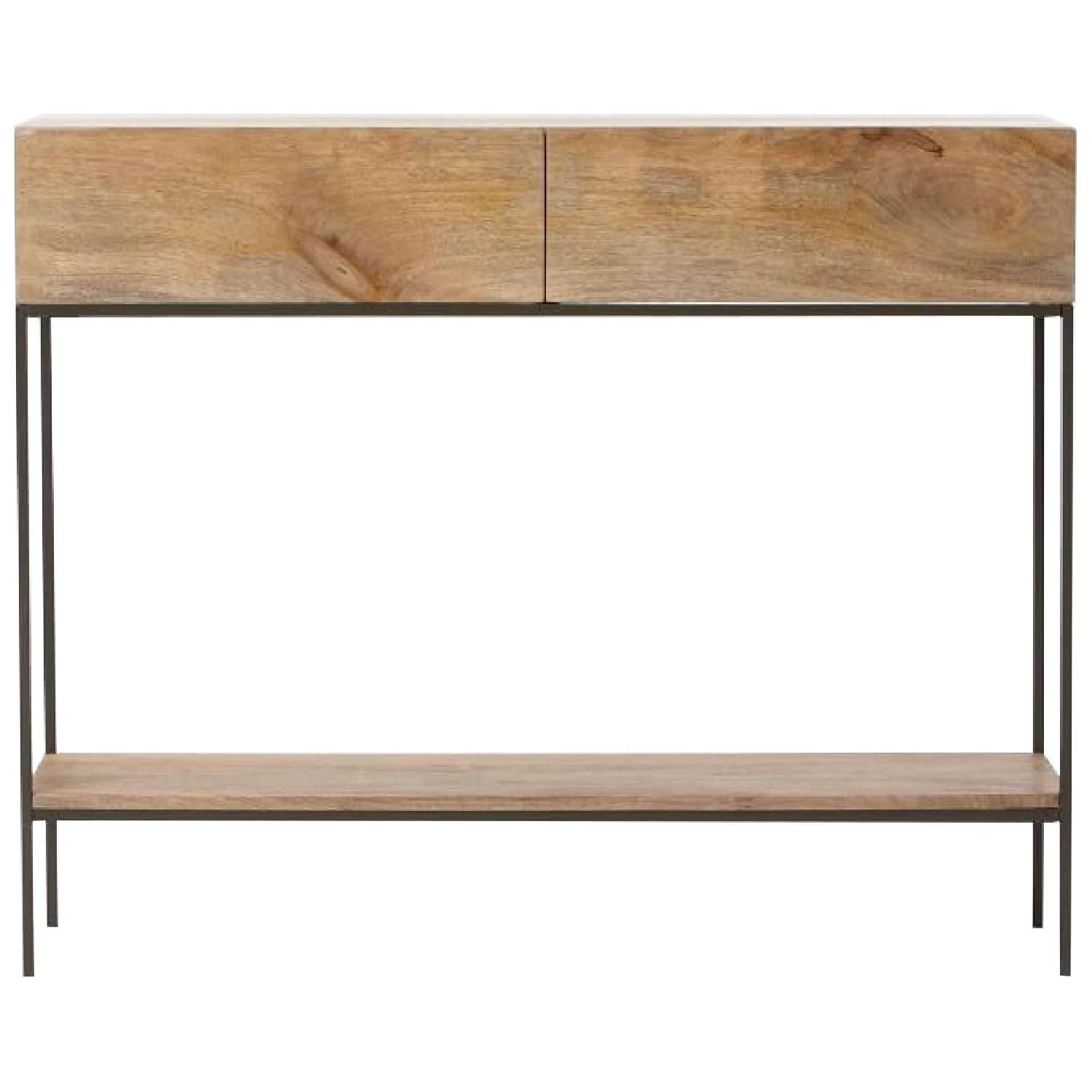 West Elm Modern Console Table in Natural Finish w/ Drawers - image-0