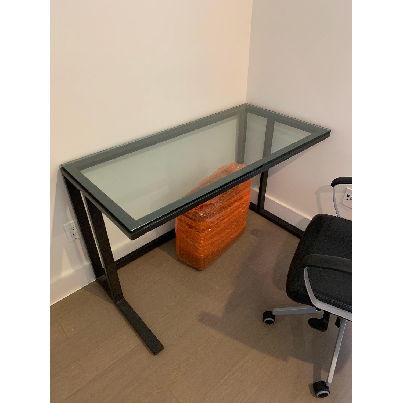 Crate & Barrel Pilsen Graphite Desk w/ Glass Top - image-1
