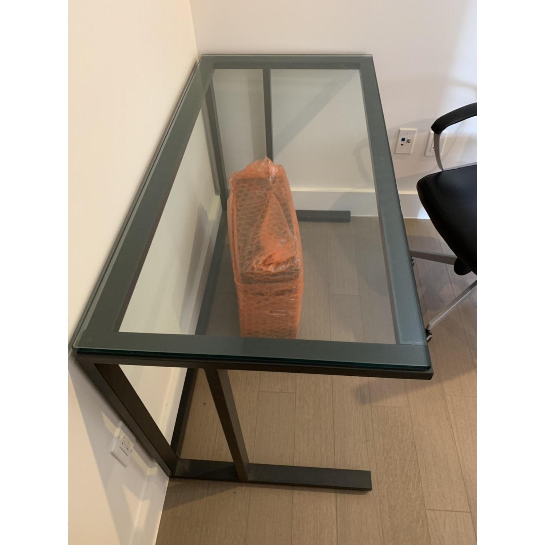 Crate & Barrel Pilsen Graphite Desk w/ Glass Top - image-3
