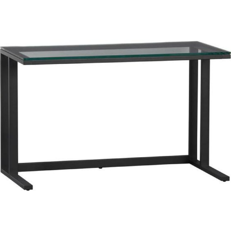 Crate & Barrel Pilsen Graphite Desk w/ Glass Top - image-0