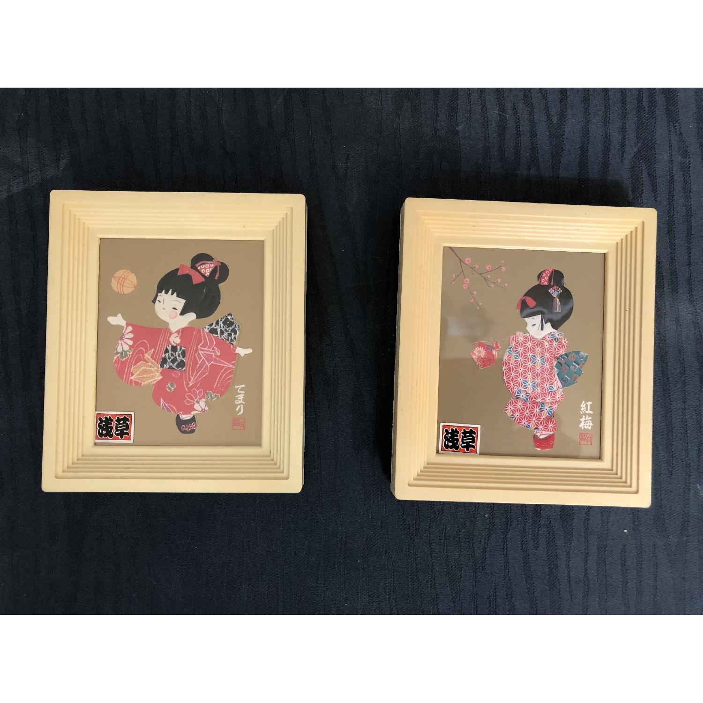 Signed Japanese Geisha Girl Paper/Washi Wall Art - image-1