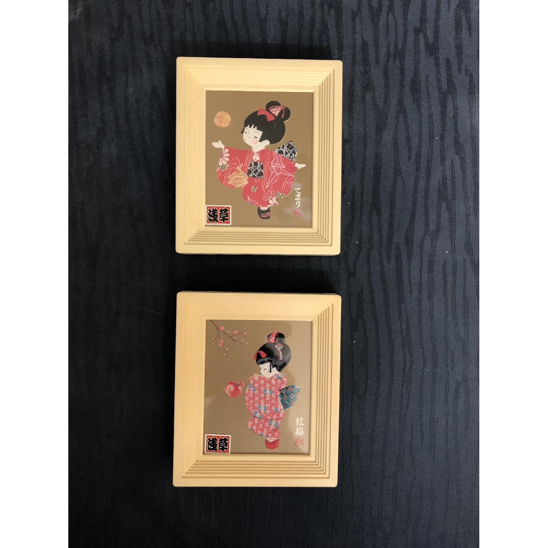 Signed Japanese Geisha Girl Paper/Washi Wall Art - image-2
