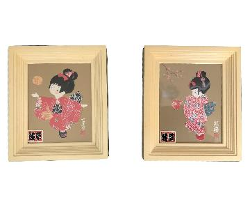 Signed Japanese Geisha Girl Paper/Washi Wall Art