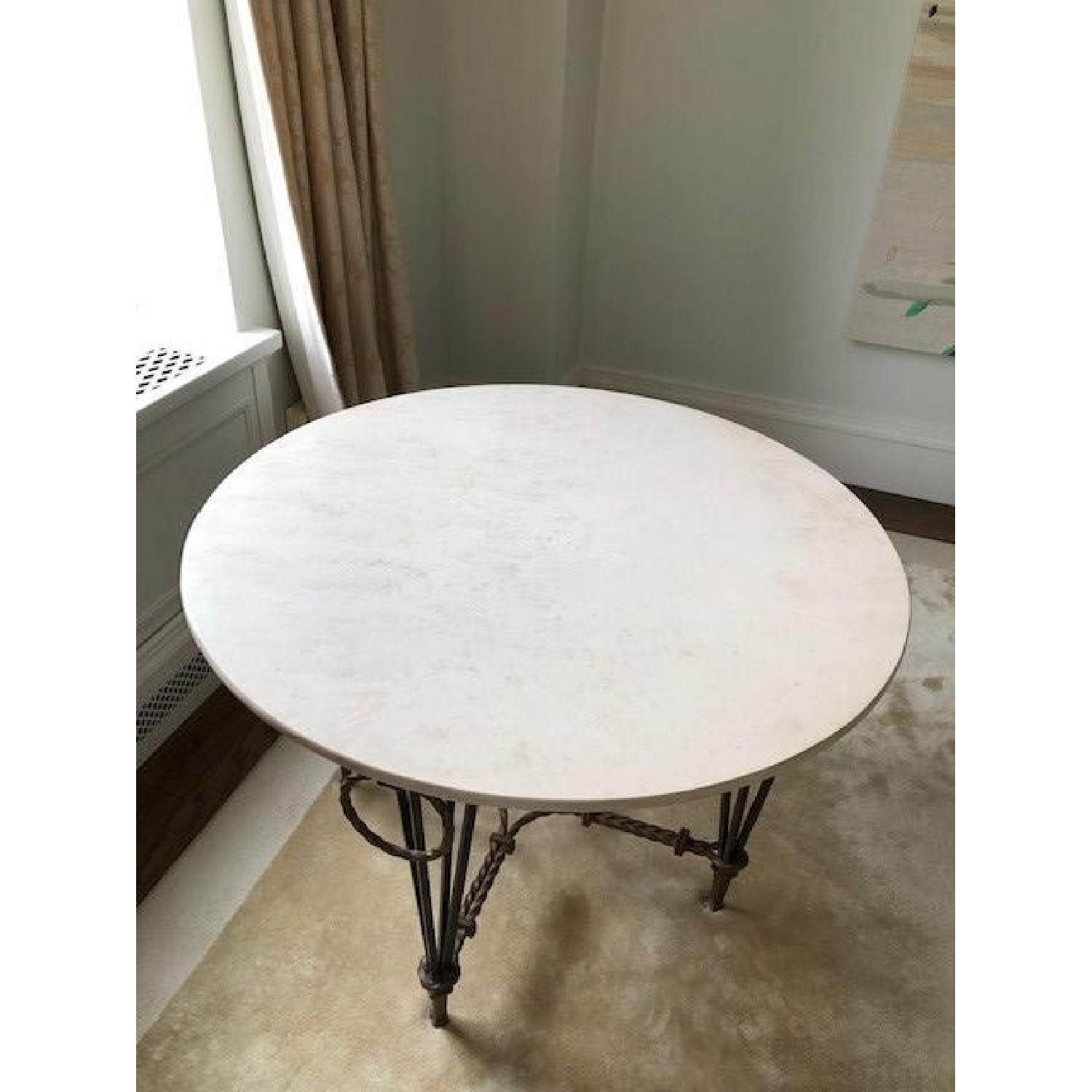 Vintage Iron & Marble Dining Table - image-0
