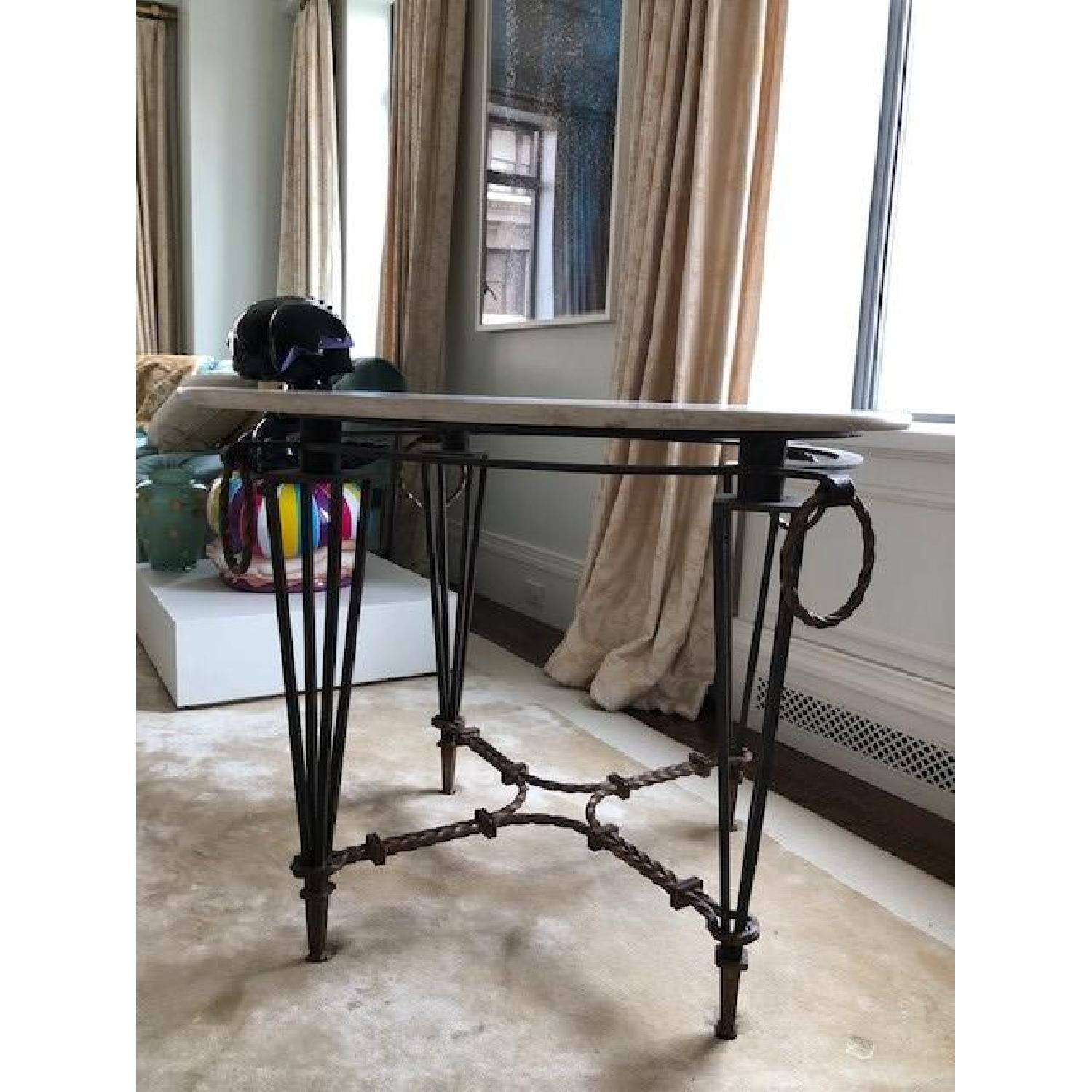 Vintage Iron & Marble Dining Table - image-1