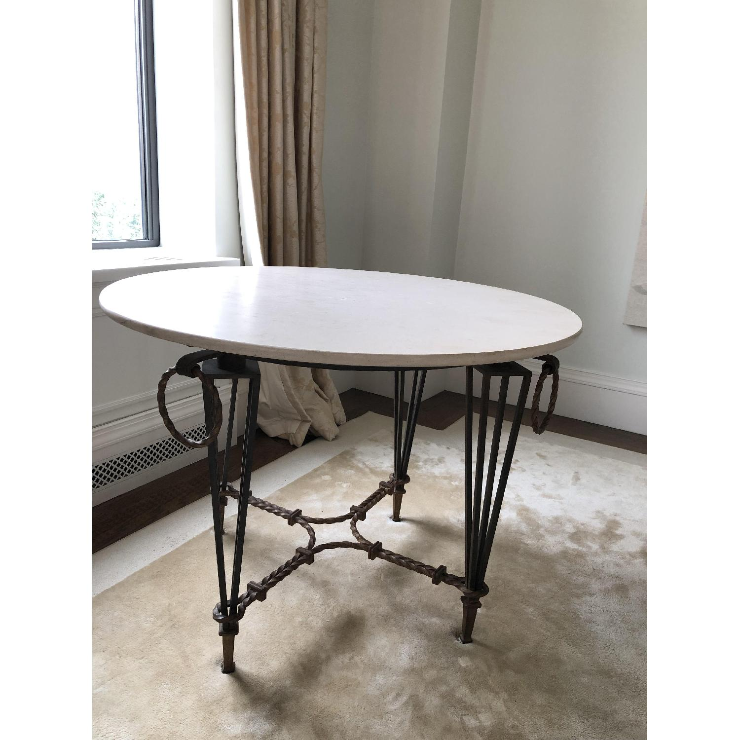 Vintage Iron & Marble Dining Table - image-2