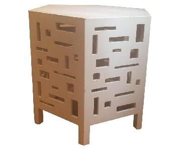 West Elm White Lacquer Side Table