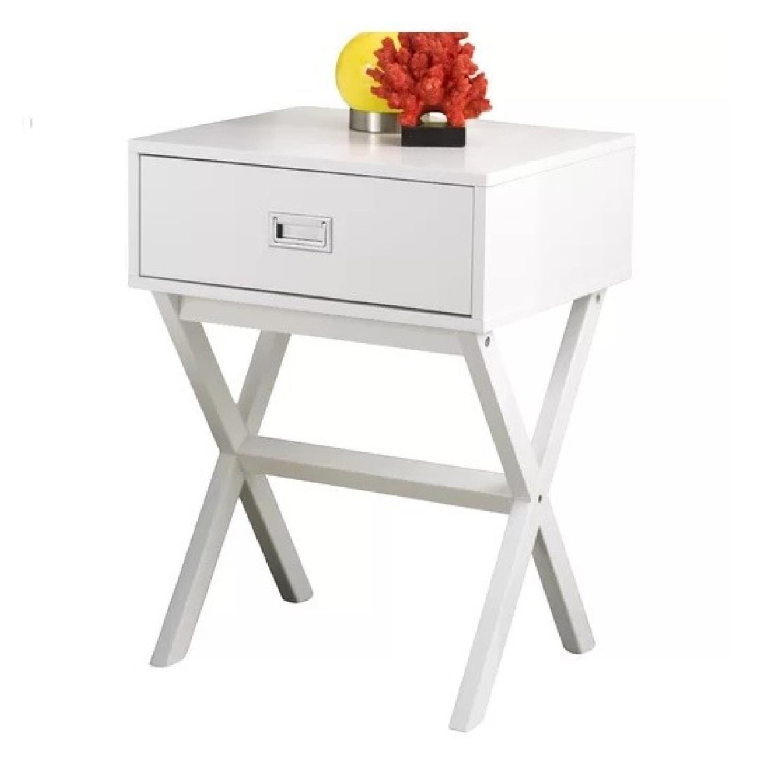 Hashtag Home White Cross Leg Side Table - image-0