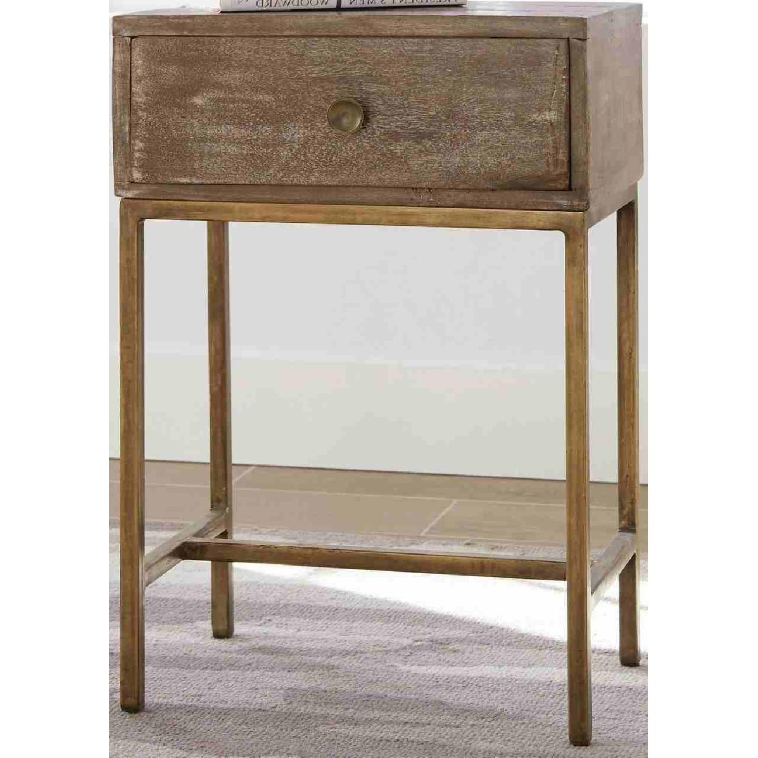 Accent Table w/ Drawer in Weathered Natural & Antique Gold - image-1