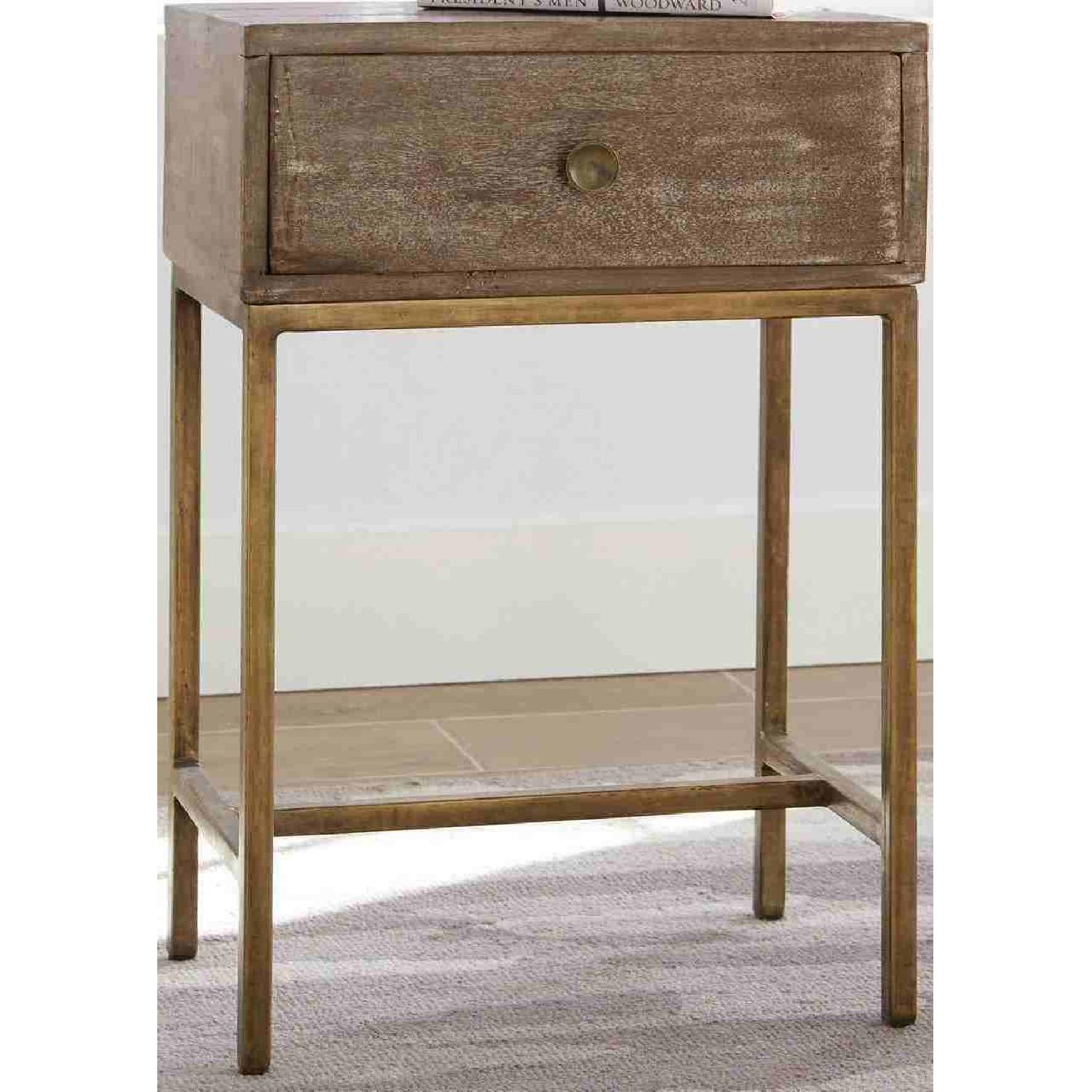 Accent Table w/ Drawer in Weathered Natural & Antique Gold - image-2