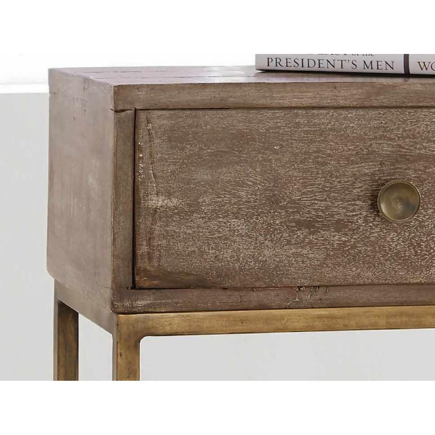 Accent Table w/ Drawer in Weathered Natural & Antique Gold - image-3