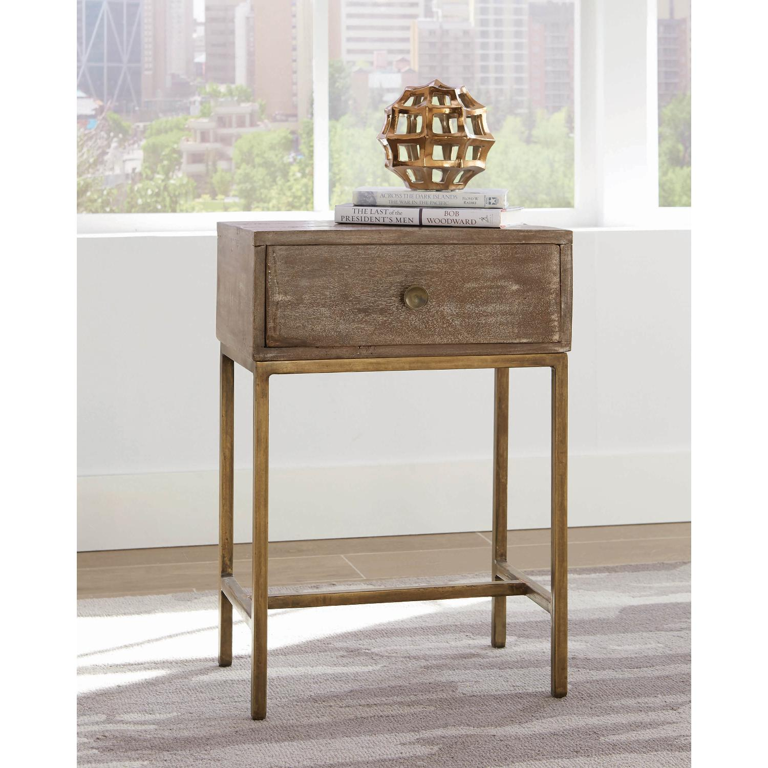 Accent Table w/ Drawer in Weathered Natural & Antique Gold - image-4