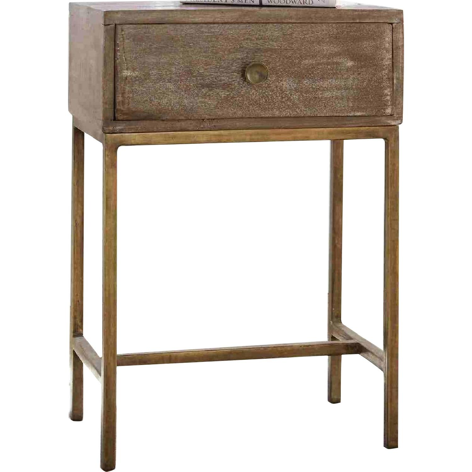 Accent Table w/ Drawer in Weathered Natural & Antique Gold - image-0