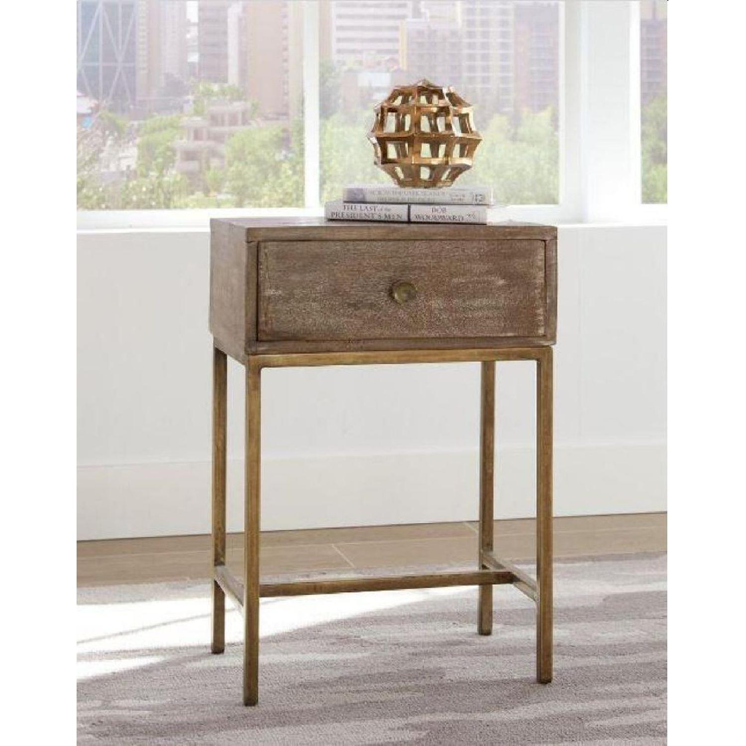 Accent Table w/ Drawer in Weathered Natural & Antique Gold - image-9