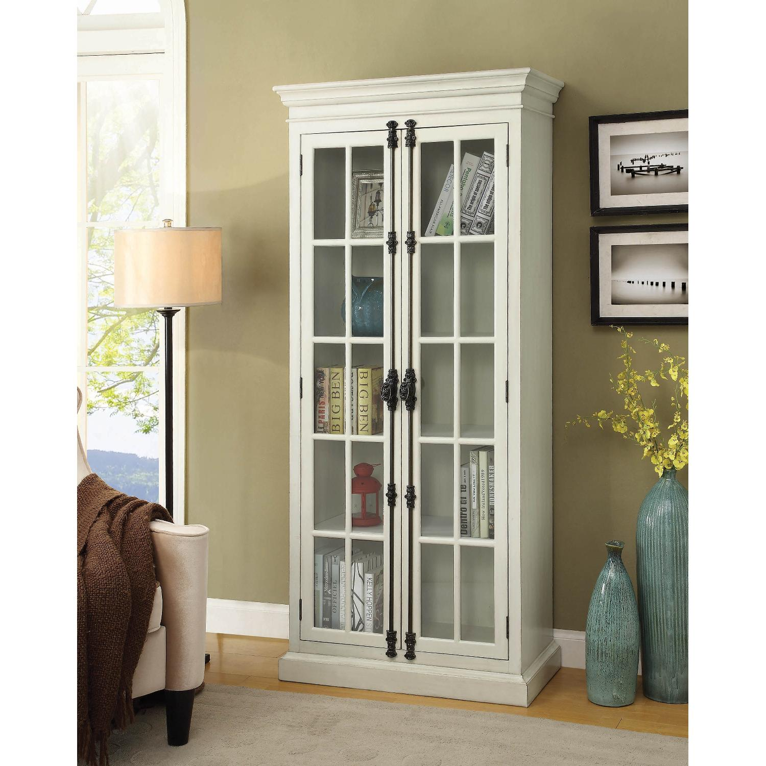 Classic French Style Cabinet w/ Shelves & Glass Doors - image-2