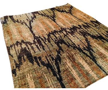 Abstract Chevron Sage Green/Black/Tan & Cream Wool Area Rug