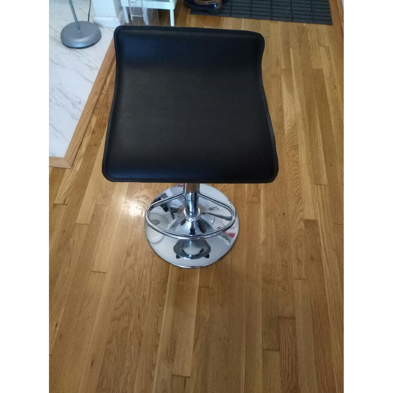 Brown Swivel Height Adjustable Barstool w/ Chrome Base - image-1