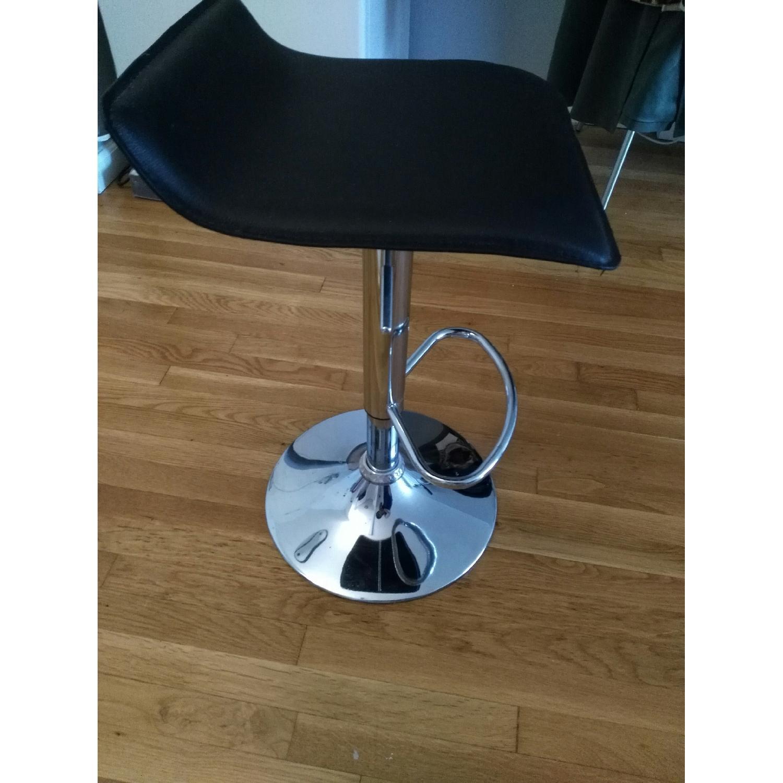 Brown Swivel Height Adjustable Barstool w/ Chrome Base - image-2