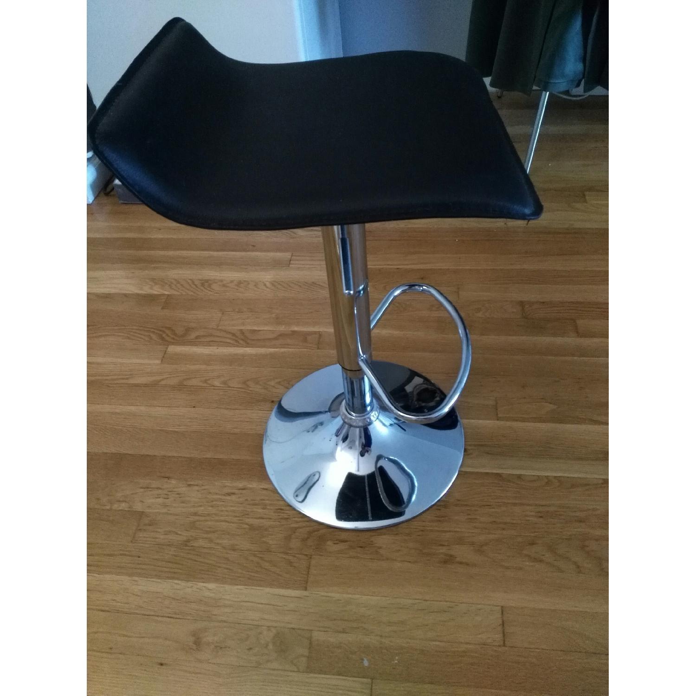 Brown Swivel Height Adjustable Barstool w/ Chrome Base - image-3
