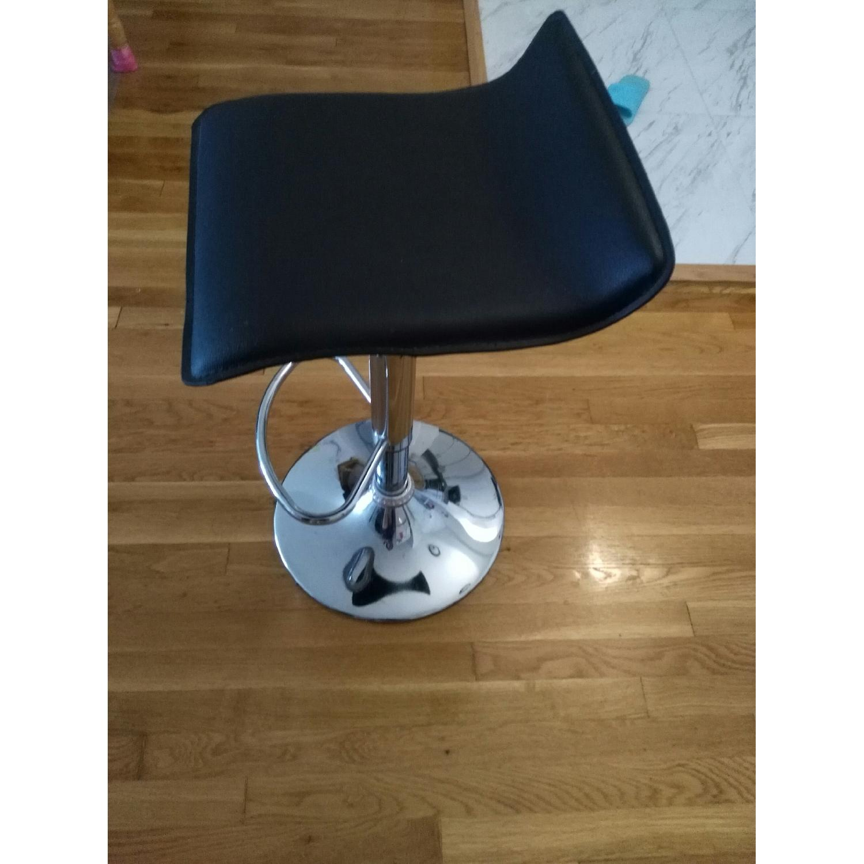 Brown Swivel Height Adjustable Barstool w/ Chrome Base - image-4